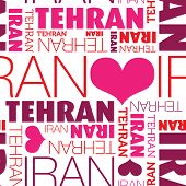 stock photo of tehran  - I love Tehran Iran seamless typography background pattern in vector - JPG