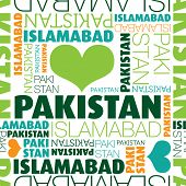 I love Pakistan Islamabad seamless typography background pattern in vector