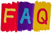 FAQ, frequently asked questions in bright colors.