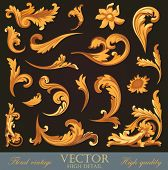 Gold Vintage Elements. High detail Floral ornament.  Flourish pattern. Merry Christmas & Happy New Y