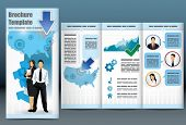 Trifold business brochure template with location map, information, analytical graph and management to employee statistics