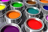 colorful inks in paint cans isolated on white. 3D image.