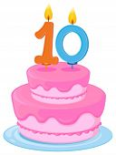 illustration of a cake with candle 10 on a white background