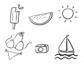 illustration of various beach objects on a white background