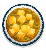 picture of paneer  - illustration of a paneer curry on a white - JPG