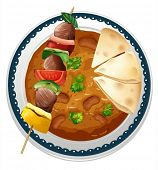 illustration of a curry and a meat on a white background