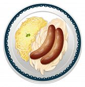 illustration of snags and sausages on a white background