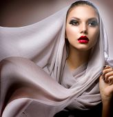 Beautiful Young Woman in Chiffon Scarf