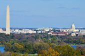 Washington DC skyline in autumn with Washington Monument, United States Capitol building and Potomac
