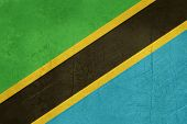 Grunge Sovereign state flag of country of Tanzania in official colors.