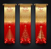 Vertical golden banners with greetings and Christmas trees