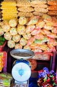 Variety of different sweets at market in Kota Kinabalu Malaysia