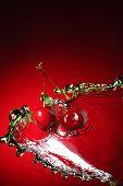 cherry in water splash