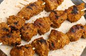 Indian lamb tikka with chapatti bread