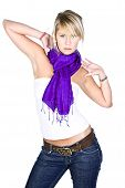 Beautiful Blonde Girl In Purple Scarf