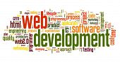 Web development concept in word tag cloud on white background