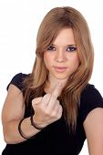 Aggressive woman making an insulting gesture isolated on white background_With focus on finger_