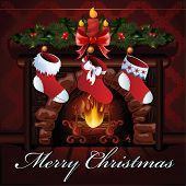Christmas fireplace vector illustration.
