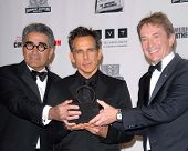 LOS ANGELES - NOV 15: Eugene Levy, Ben Stiller, Martin Short in the press room of the 26th American