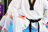 stock photo of taekwondo  - People in a gym in martial arts training exercising Taekwondo - JPG