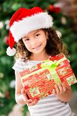 Christmas girl wearing a Santa hat and holding a present