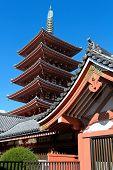 Pagoda At Sensoji Asakusa Temple In Tokyo
