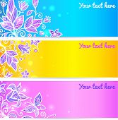 Colorful blue, yellow and violet flower banners