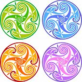 foto of triskele  - Colored isolated vector celtic triskels - JPG