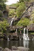 People Showering Under Waterfalls