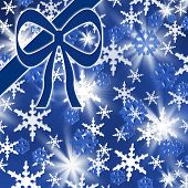 Snowflakes pattern background with blue bow