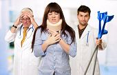 Woman With Neck Brace In Front Of Doctors, Indoor