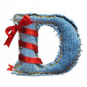 Handmade letter of jeans alphabet with holiday red ribbon