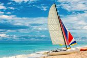 Sailing boat on a beautiful summer day at Varadero beach in Cuba