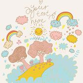 Weather concept cartoon card in vector. Funny smily clouds, rainbows and sun undo the trees and flow
