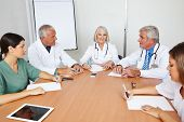Team meeting of some doctors in a hospital