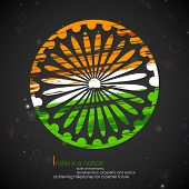 picture of ashok  - illustration of abstract grungy Indian flag with Ashok Chakra - JPG