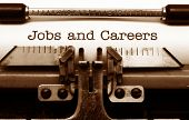 stock photo of typewriter  - Close up of typewriter Jobs and careers - JPG