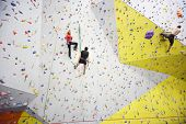 MOSCOW - DEC 5: People involved in climbing in a climbing gym Bigwall on Savelovskaya on December 5,