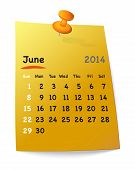Calendar For June 2014 On Orange Sticky Note Attached With Orange Pin