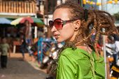 Arambol, Goa - February 5, 2013: An Unknown Girl With Dreadlocks At The Annual Festival Of Freaks, A