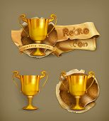 Gold trophy, vector icon
