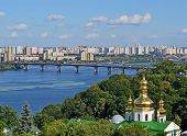 Kiev Pechersk Lavra cityscape, Dnieper river in Kiev, Ukraine.
