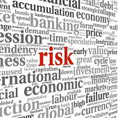 Risk in economy and finance concept in word tag cloud on white background