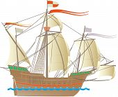 foto of galleon  - One of the ships of Christopher Columbus - JPG