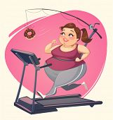stock photo of obesity  - Fat girl is running - JPG