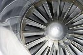 Extreme closeup of an airplane turbine
