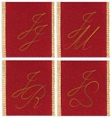 Collection of textile monograms design on a ribbon. JJ; JM;  JR; JS