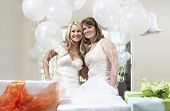 Portrait of a smiling bride and friend standing together by gift at bridal shower