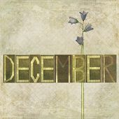 Erdigen Hintergrund und Design-Element, die das Wort für den Monat Dezember
