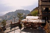 Scenic View From Public Terrace In Taormina Sicily Italy